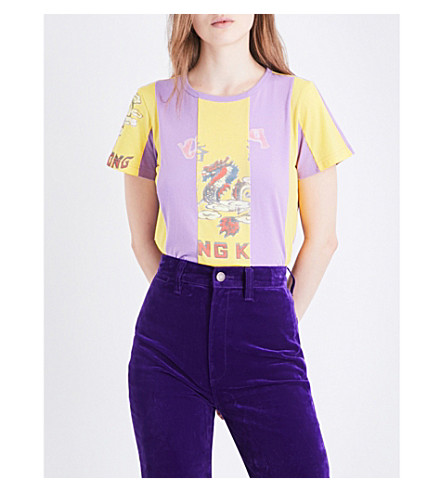 MARC JACOBS Hong Kong graphic-print cotton-jersey T-shirt (Light+purple+multi
