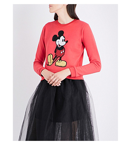 MARC JACOBS Mickey Mouse sequinned cotton-jersey sweatshirt (Red