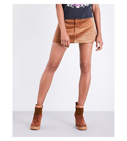 MARC JACOBS A-line corduroy mini skirt (Tan