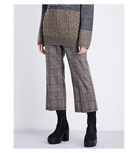 MARC JACOBS Prince of Wales check straight cropped high-rise woven trousers (Brown+multi