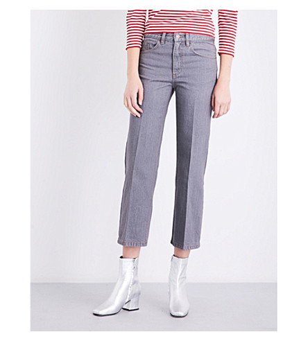 MARC JACOBS Flared cropped mid-rise jeans (Grey
