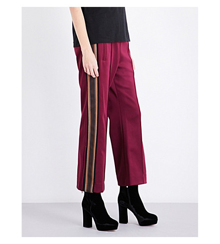 MARC JACOBS Striped-sides jersey jogging bottoms (Burgundy+multi