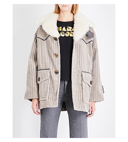 MARC JACOBS Shearling-collar cotton corduroy coat (Taupe