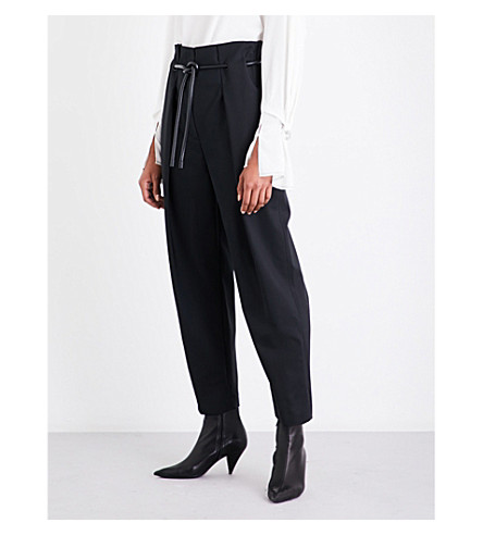 3.1 PHILLIP LIM Belt-detail high-rise paperbag waist cotton-blend trousers (Black