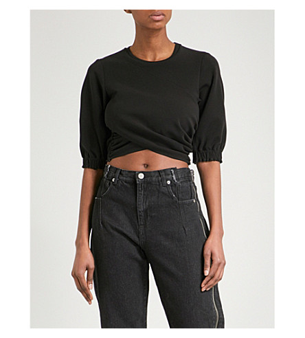 3.1 PHILLIP LIM Wrap-panel jersey cropped top (Black