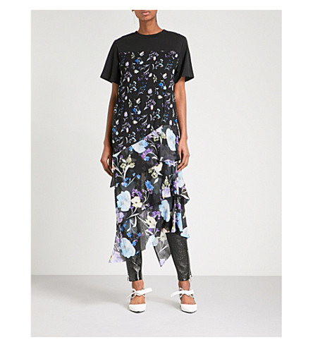 3.1 PHILLIP LIM Floral-print tiered cotton and silk-crepe top (Black