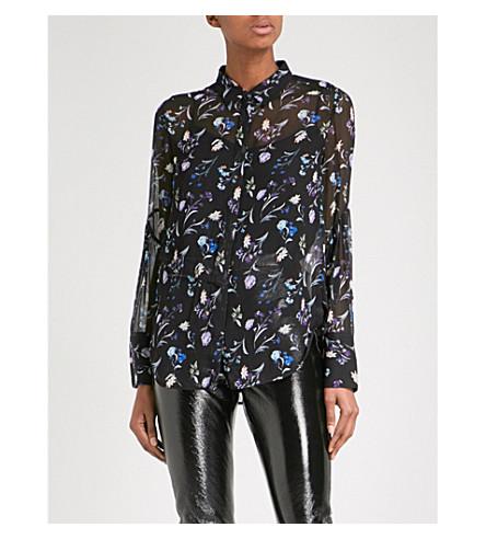 3.1 PHILLIP LIM Floral-print silk-chiffon shirt (Black