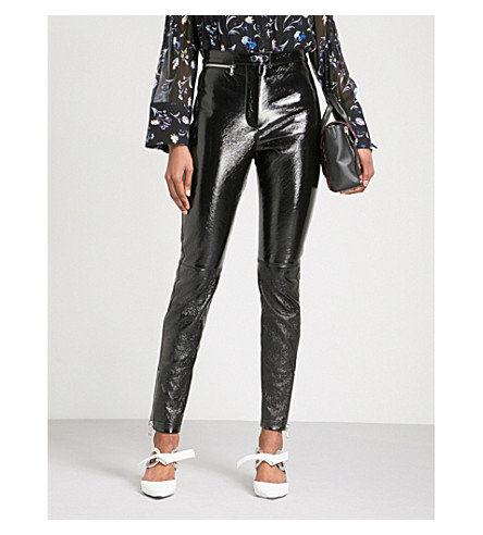 3.1 PHILLIP LIM Skinny high-rise patent leather trousers (Black