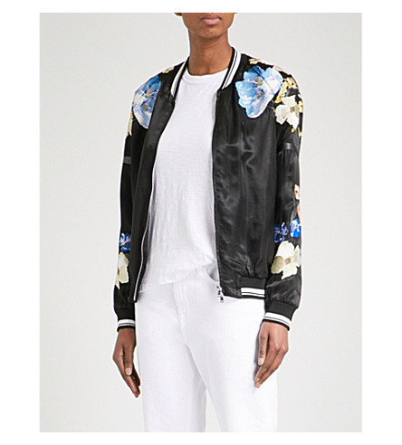 3.1 PHILLIP LIM Floral-embroidered satin bomber jacket (Black