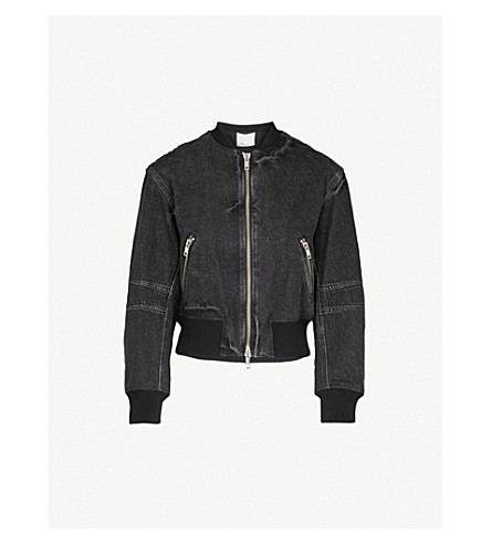 3.1 PHILLIP LIM Zip-up denim bomber jacket (Black