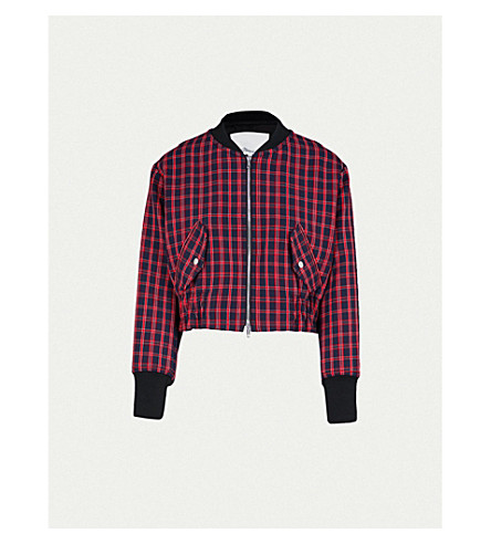 3.1 PHILLIP LIM Checked woven bomber jacket (Blk-red