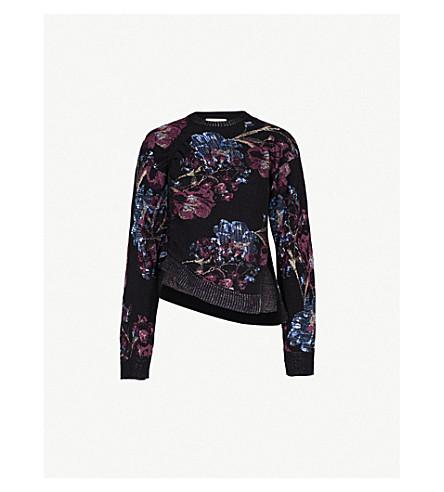 3.1 PHILLIP LIM Floral-jacquard ruched cotton-blend jumper (Black