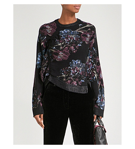 3.1 PHILLIP LIM Floral-jacquard ruched cotton-blend jumper (Black