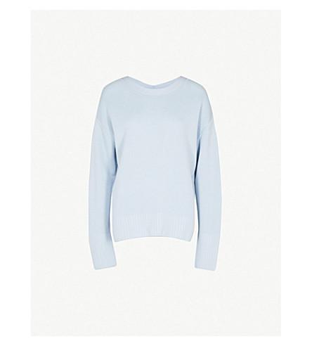 3.1 PHILLIP LIM V-neck relaxed-fit silk-blend jumper (Light+blue