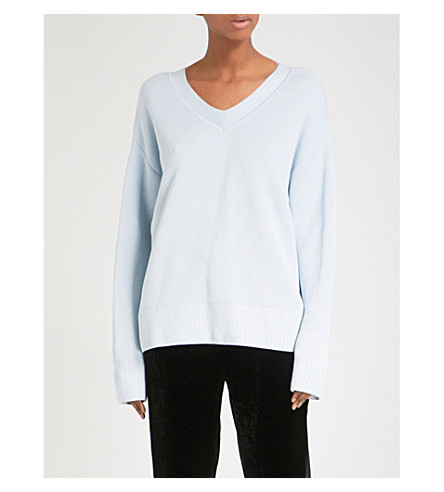 3.1 PHILLIP LIM V-neck relaxed-fit silk-blend jumper (Light+blue