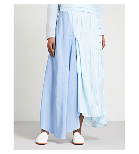3.1 PHILLIP LIM Contrast-panel striped high-rise satin-twill maxi skirt (Blue-black