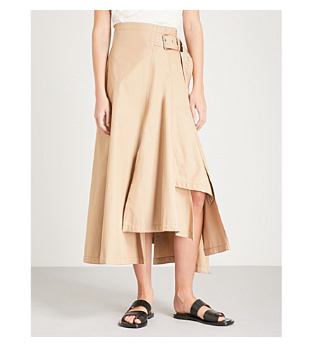 3.1 PHILLIP LIM Belted high-rise woven maxi skirt (Camel