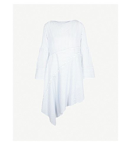3.1 PHILLIP LIM Asymmetric-hem striped woven dress (Blue-white