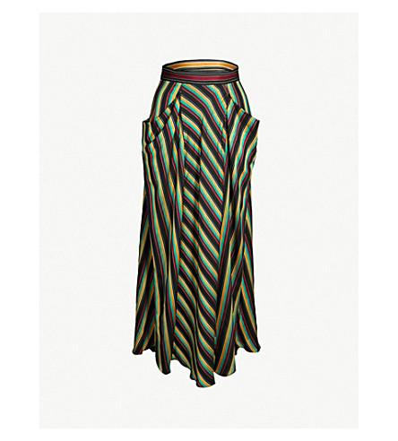 3.1 PHILLIP LIM Asymmetric striped high-rise satin skirt (Blk multi stripe