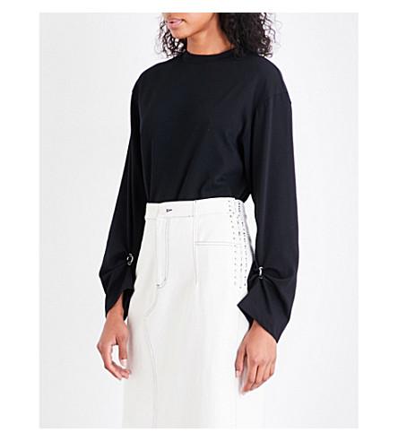 3.1 PHILLIP LIM Pierced open-back cotton-jersey top (Black