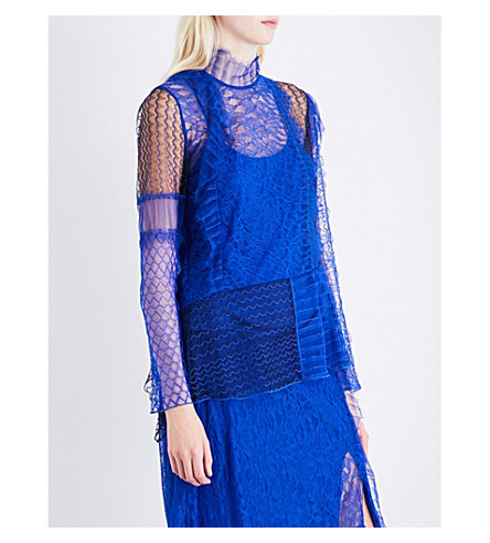3.1 PHILLIP LIM Contrast-panel high-neck lace shirt (Electric+blu