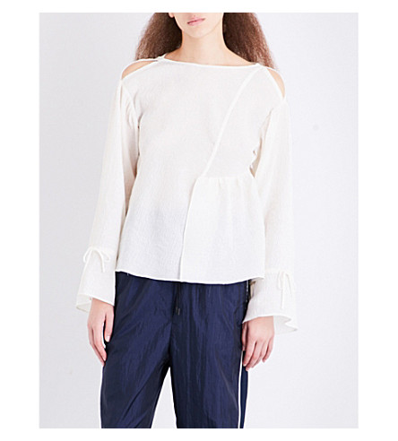 3.1 PHILLIP LIM Asymmetric ruffled cotton-blend top (Ant.+white