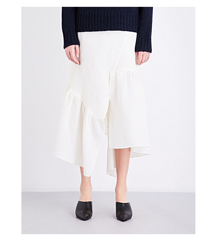 3.1 PHILLIP LIM Asymmetric ruffled cotton-blend midi skirt (Ant+white