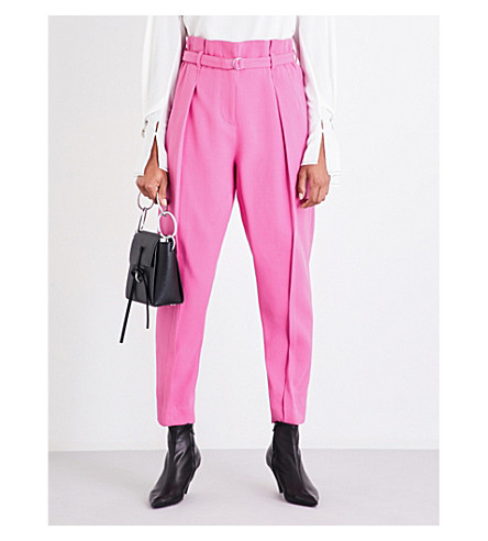 3.1 PHILLIP LIM Wide cropped high-rise gabardine trousers (Candy