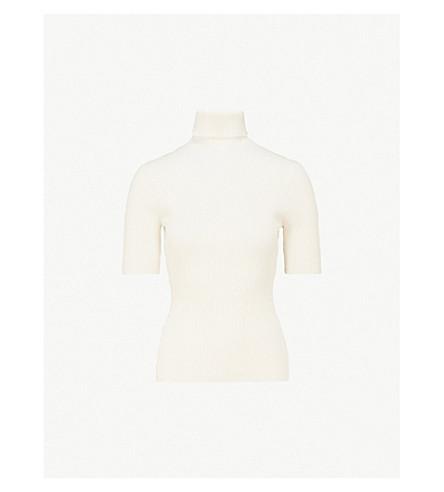 3.1 PHILLIP LIM Turtleneck ribbed wool-blend top (White+sand