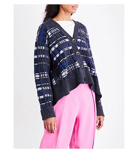 3.1 PHILLIP LIM Abstract V-neck wool-blend cardigan (Twilight+blue