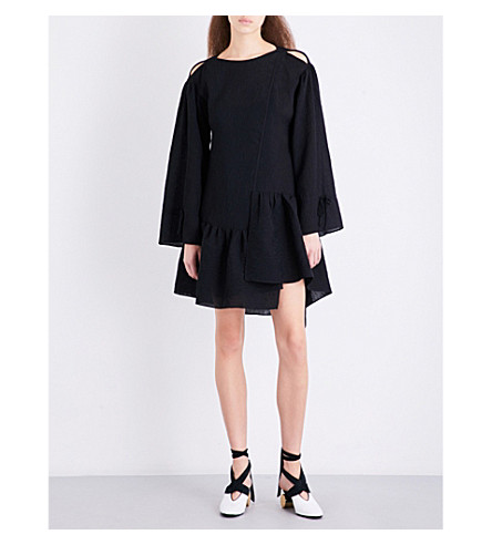 3.1 PHILLIP LIM Asymmetric ruffled cotton-blend mini dress (Black