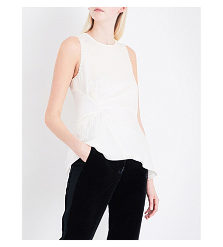 3.1 PHILLIP LIM Feather-trim sleeveless silk-crepe top (Ant+white