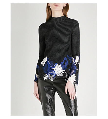 3.1 PHILLIP LIM Lace-embroidered ribbed wool jumper (Black
