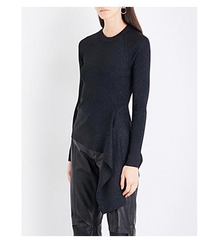 3.1 PHILLIP LIM Ribbed Side-Tie knitted jumper (Black