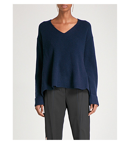 3.1 PHILLIP LIM Draped-back wool and yak-blend jumper (Navy