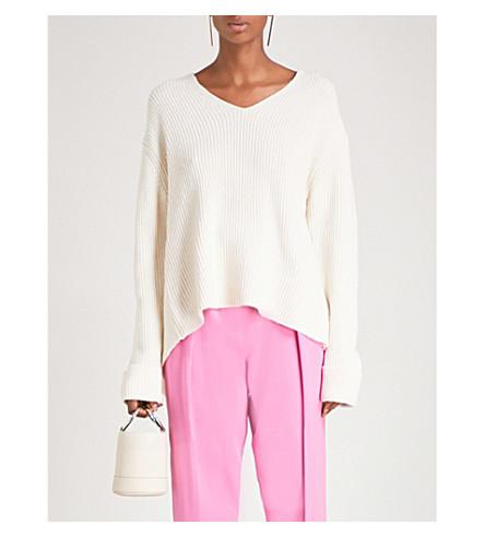 3.1 PHILLIP LIM Draped-back wool and yak-blend jumper (White