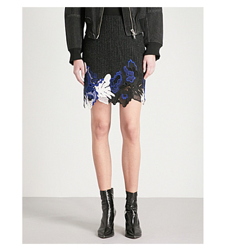 3.1 PHILLIP LIM Lace-embroidered high-rise wool-blend mini skirt (Black