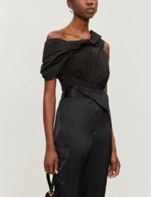 One-shoulder pleated cotton-blend top
