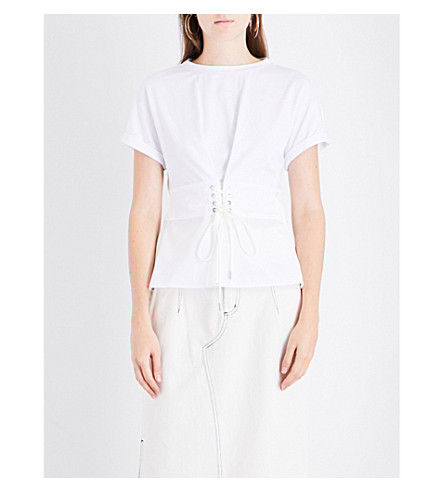 3.1 PHILLIP LIM Corset-panel cotton top (White