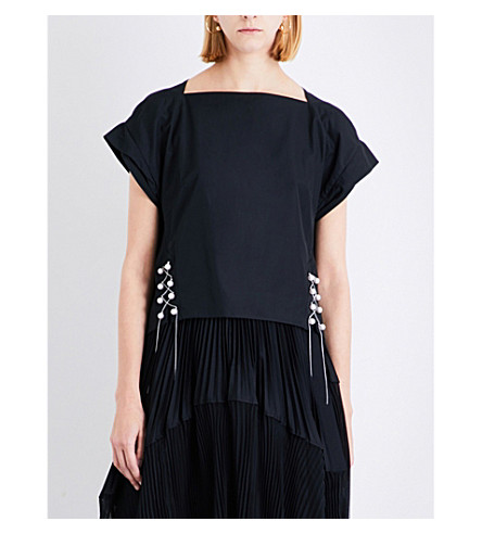 3.1 PHILLIP LIM Faux-pearl chained cotton top (Black