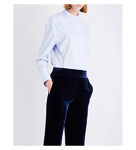 3.1 PHILLIP LIM Faux pearl-embellished cotton-poplin shirt (Oxford+blue