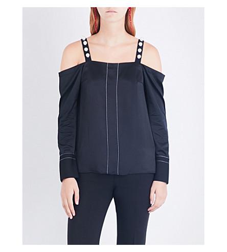 3.1 PHILLIP LIM Faux pearl-embellished cold shoulder silk-satin top (Black