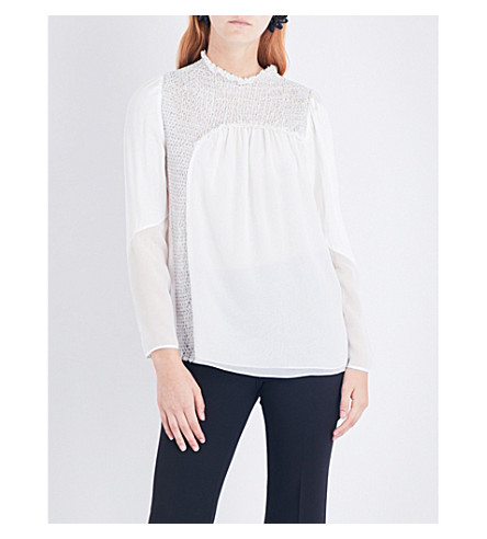 3.1 PHILLIP LIM Diamond-smocked silk-chiffon top (Ant+white