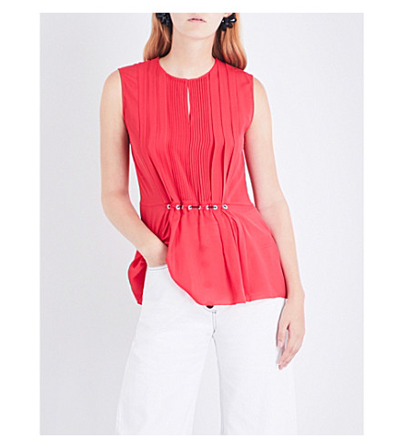 3.1 PHILLIP LIM Pintucked silk-crepe top (Punch+pink