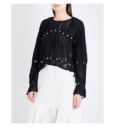 3.1 PHILLIP LIM Embellished pintucked silk-chiffon blouse (Black