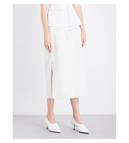 3.1 PHILLIP LIM Lace-up high-rise denim skirt (White
