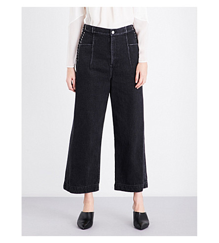 3.1 PHILLIP LIM Lace-up wide cropped high-rise jeans (Black