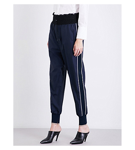 3.1 PHILLIP LIM Smocked shell jogging bottoms (Navy