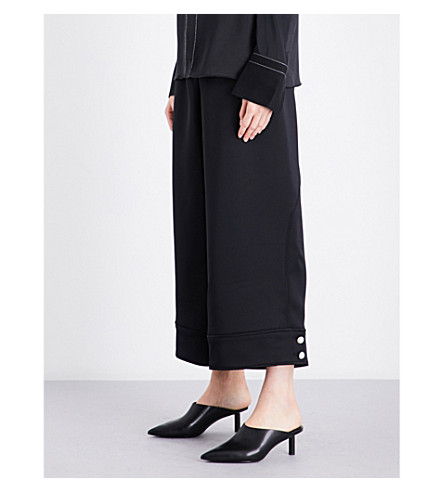 3.1 PHILLIP LIM Wide cropped high-rise satin trousers (Phantom+blue