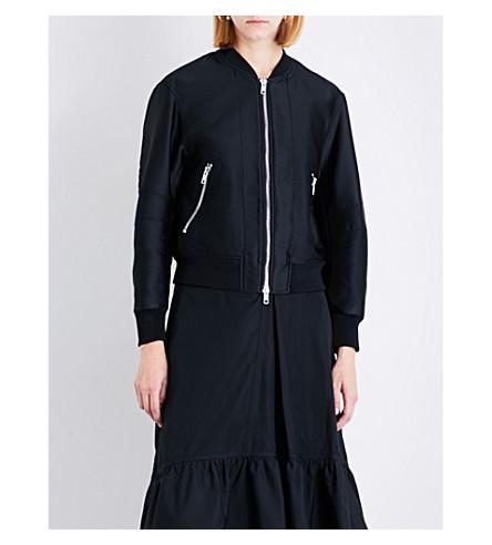 3.1 PHILLIP LIM Eyelet-detailed satin bomber jacket (Black